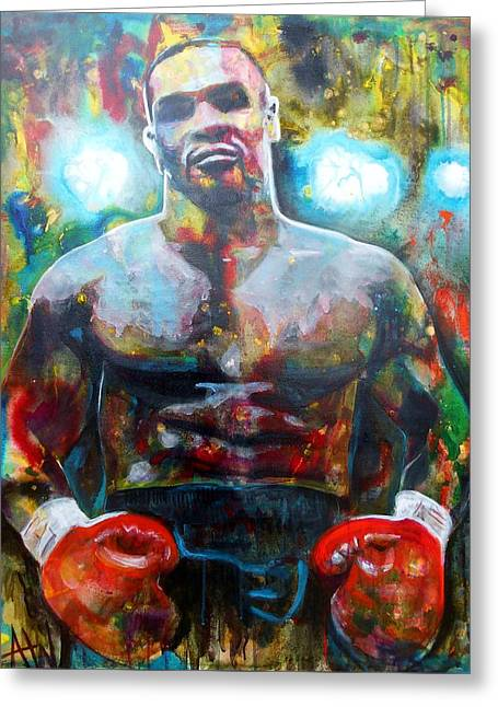 Boxer Abstract Art Greeting Cards - Iron Mike Greeting Card by Angie Wright