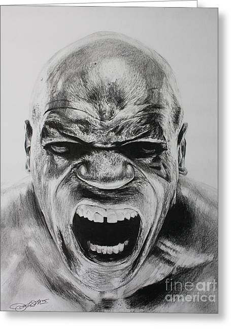 Boxer Drawings Greeting Cards - Iron Mike Greeting Card by Joshua Navarra