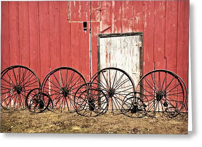 Iron Wheels Greeting Card by Kathy Krause