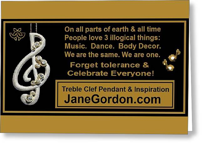 Happy Jewelry Greeting Cards - Ironic Harmony Greeting Card by Jane A  Gordon