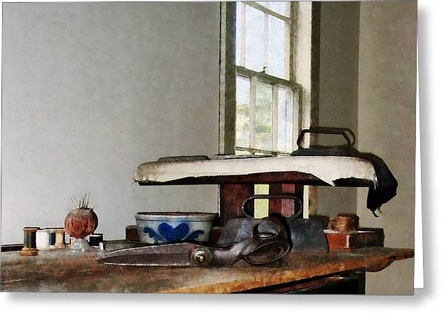 Window Greeting Cards - Ironing Day Greeting Card by Susan Savad