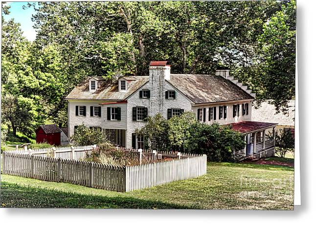 Historic Site Greeting Cards - Ironmaster Mansion at Hopewell Furnace  Greeting Card by Olivier Le Queinec