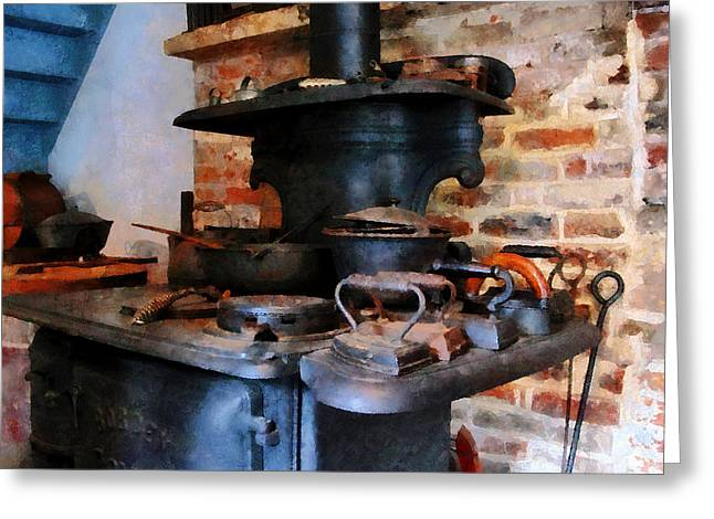 Stoves Greeting Cards - Irons Heating On Stove Greeting Card by Susan Savad