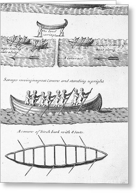 18th Century Greeting Cards - Iroquois Canoes Greeting Card by Granger