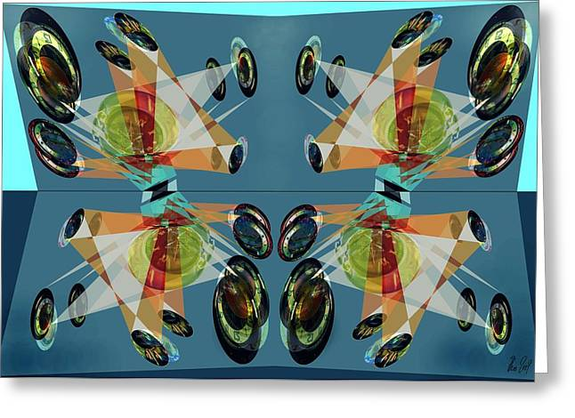 Irregular Mirrored Watches Greeting Card by Helmut Rottler