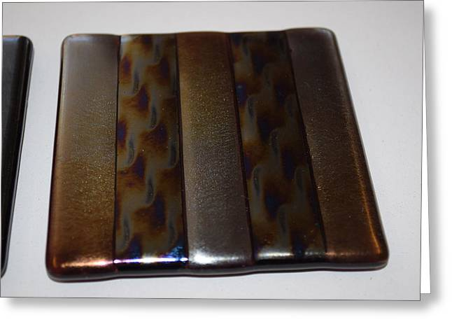 Stripes Glass Art Greeting Cards - Irridised Gold/Patterned Coasters Greeting Card by Rosalind Duffy