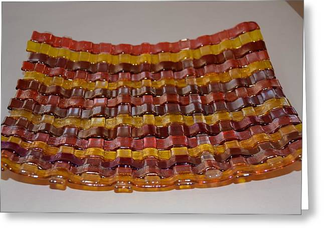 Bass Glass Art Greeting Cards - Irridised Weave Dish/Plate Greeting Card by Rosalind Duffy