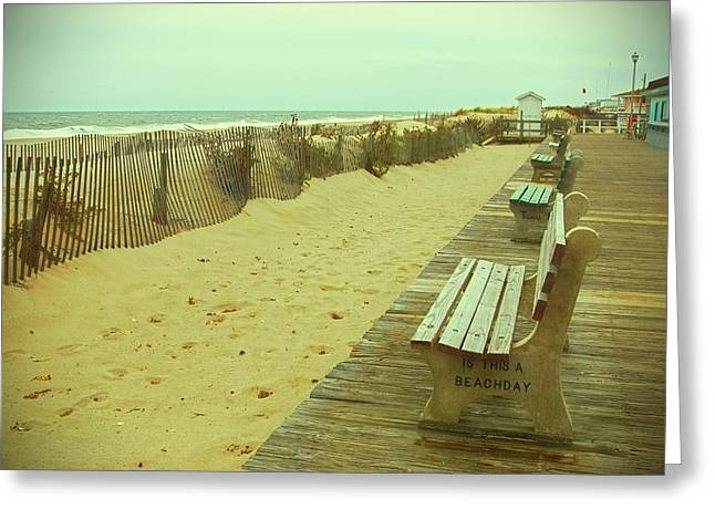 Park Benches Photographs Greeting Cards - Is This A Beach Day - Jersey Shore Greeting Card by Angie Tirado