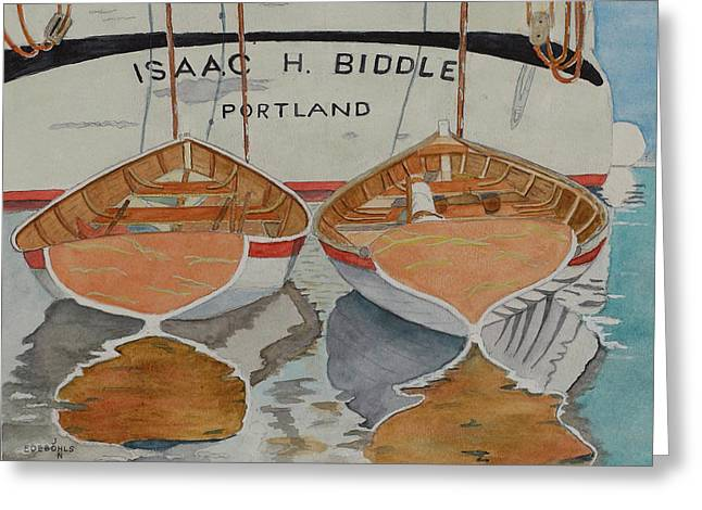 Row Boat Drawings Greeting Cards - Isaac H. Biddle Greeting Card by John Edebohls