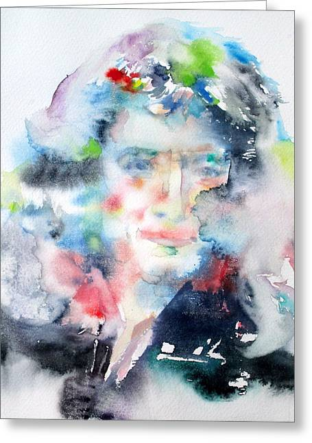 Isaac Newton Greeting Cards - ISAAC NEWTON - watercolor portrait Greeting Card by Fabrizio Cassetta