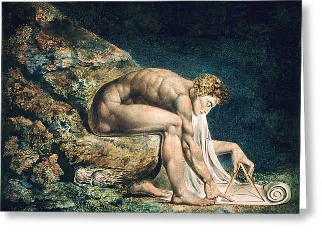 William Blake Drawings Greeting Cards - Isaac Newton Greeting Card by William Blake