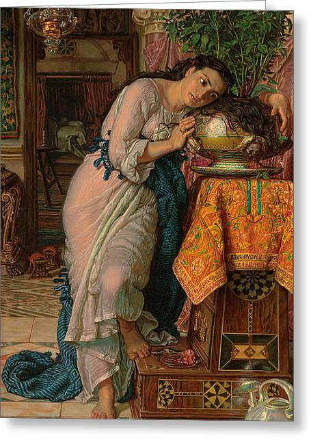 Woman Standing Greeting Cards - Isabella and the Pot of Basil Greeting Card by William Holman Hunt