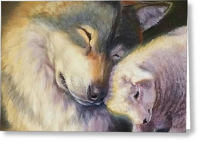 Isaiah Wolf And Lamb Greeting Card by Charice Cooper