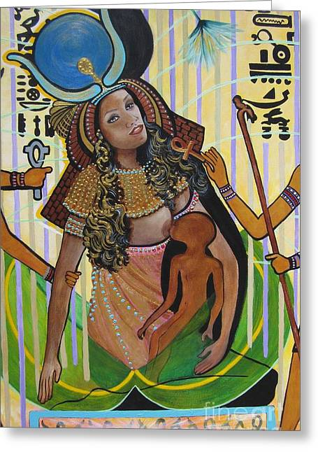 Gold Necklace. Greeting Cards - 504a Isis Breast Feeding Horus-son of Osiris Greeting Card by Sigrid Tune