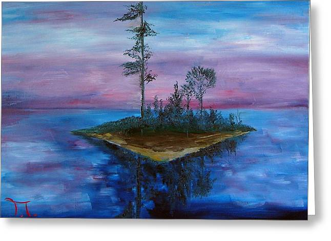 Boundary Waters Paintings Greeting Cards - Island Boundary Waters Greeting Card by Troy Thomas