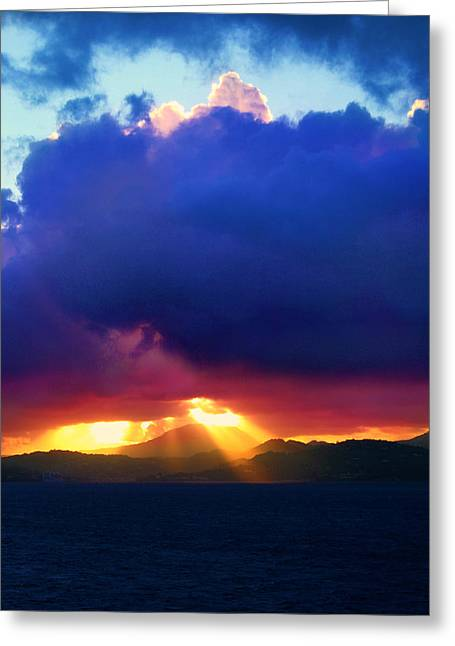 Best Ocean Photography Greeting Cards - Island Clouds Greeting Card by Perry Webster