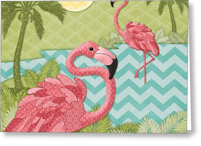 Flamingo Greeting Cards - Island Flaming I Greeting Card by Paul Brent