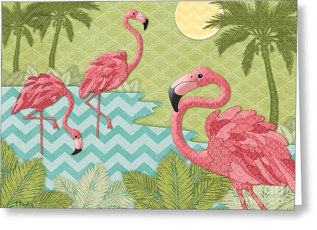 Flamingo Greeting Cards - Island Flamingo - Horizontal Greeting Card by Paul Brent