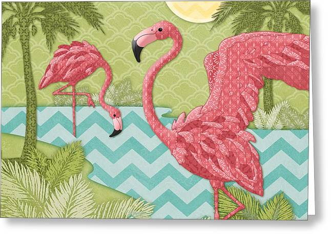 Flamingo Greeting Cards - Island Flamingo II Greeting Card by Paul Brent