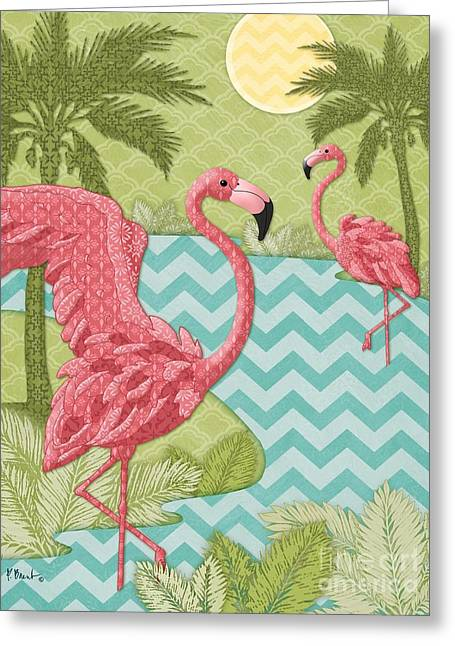 Flamingo Greeting Cards - Island Flamingo - Vertical Greeting Card by Paul Brent