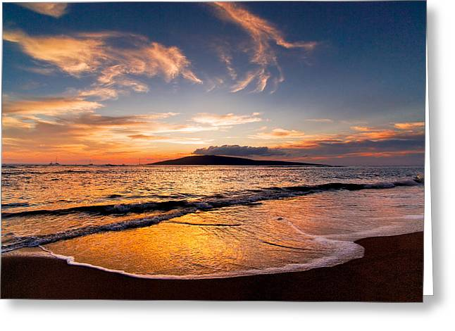Concept Photographs Greeting Cards - Island Gold - An amazingly golden sunset on the beach in Hawaii Greeting Card by Nature  Photographer
