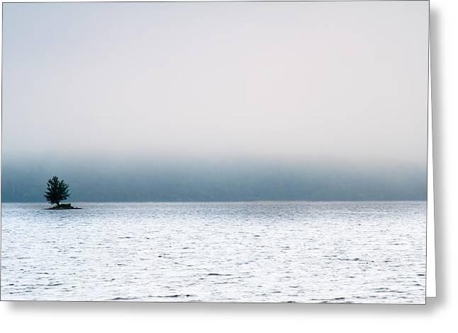 Island in the fog Greeting Card by Bob Orsillo