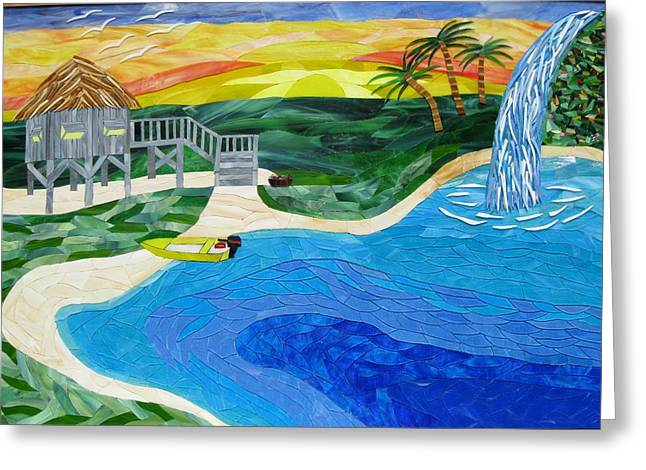 Tropical Stain Glass Glass Art Greeting Cards - Island In The Sun Greeting Card by Charles McDonell