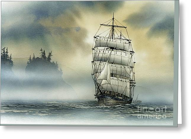 Artist James Williamson Maritime Print Greeting Cards - Island Mist Greeting Card by James Williamson