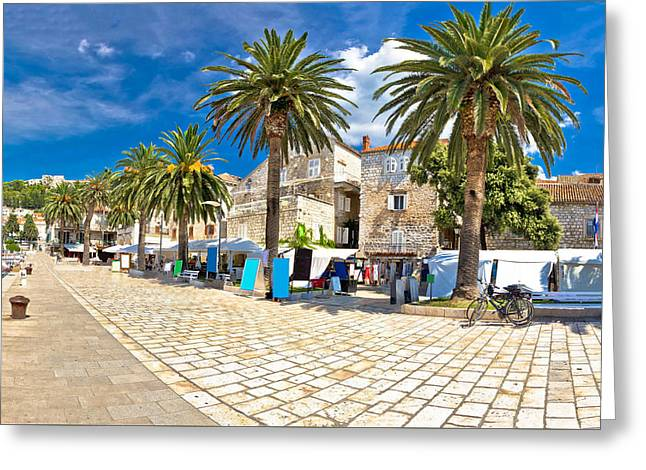 Main Street Greeting Cards - Island of Hvar palm waterfront Greeting Card by Dalibor Brlek