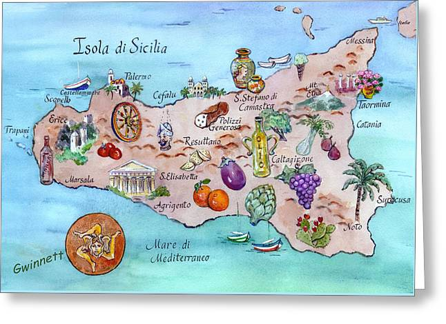 Erice Greeting Cards - Island Of Sicily Greeting Card by Kathleen  Gwinnett
