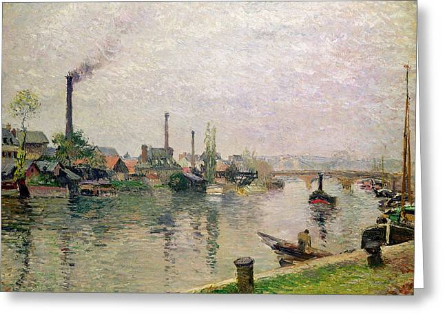 Boats At Dock Greeting Cards - Island of the Cross at Rouen Greeting Card by Camille Pissarro