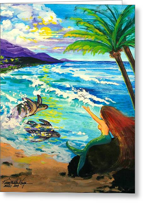 ; Maui Paintings Greeting Cards - Island Sisters Greeting Card by Karon Melillo DeVega