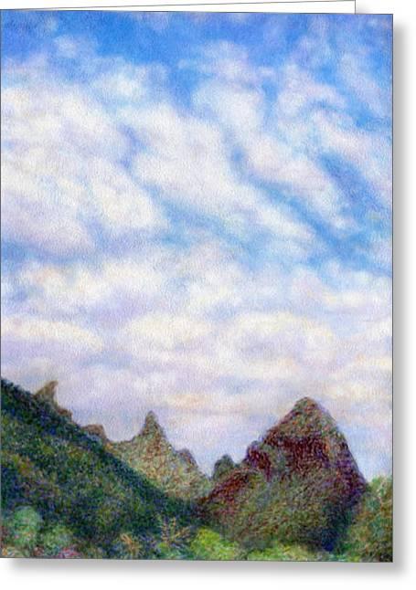 Coastal Decor Pastels Greeting Cards - Island Sky Greeting Card by Kenneth Grzesik