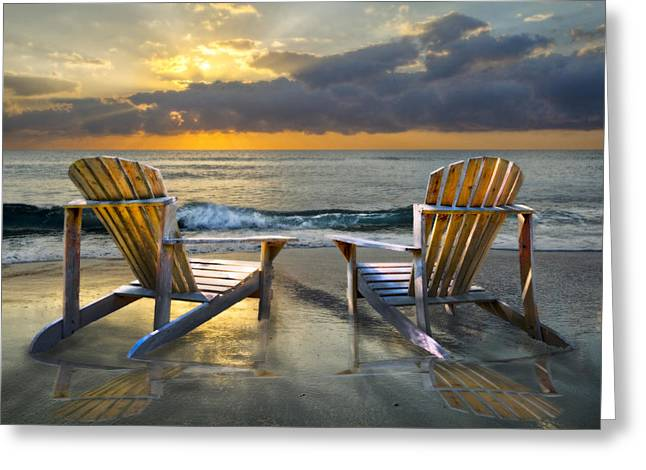 Adirondack Chairs On The Beach Greeting Cards - Island Song Greeting Card by Debra and Dave Vanderlaan