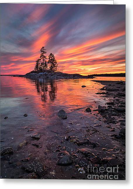 Harpswell Greeting Cards - Island Sunset Greeting Card by Benjamin Williamson