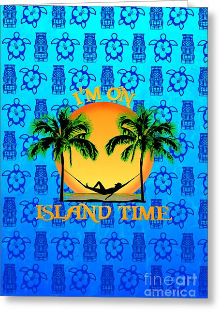 To Be Normal Greeting Cards - Island Tiki Time Greeting Card by Chris MacDonald