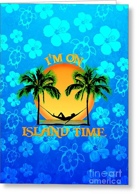 Island Time Blue Flowers Greeting Card by Chris MacDonald
