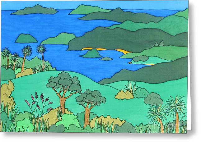Island Tapestries - Textiles Greeting Cards - Island Vista Greeting Card by Joanne  Oram