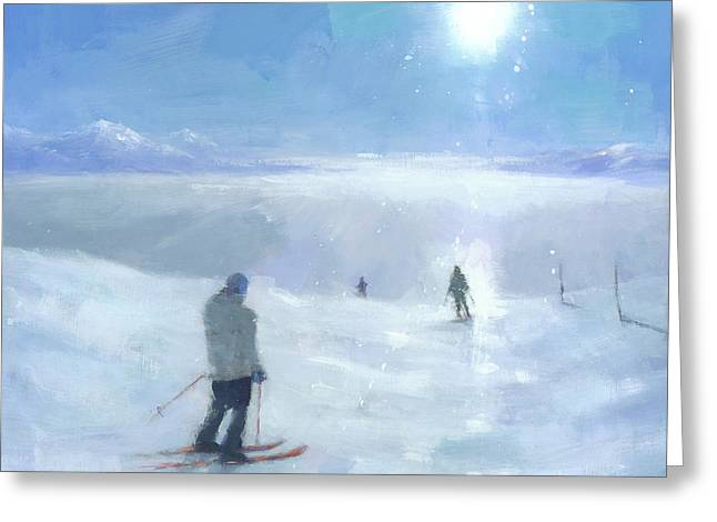 Skiers Greeting Cards - Islands in the Cloud Greeting Card by Steve Mitchell