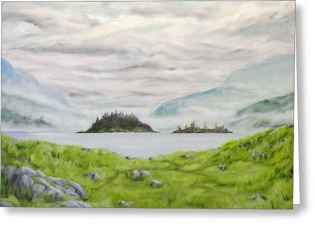 Grey Clouds Greeting Cards - Islands in the sea Greeting Card by Ida Eriksen