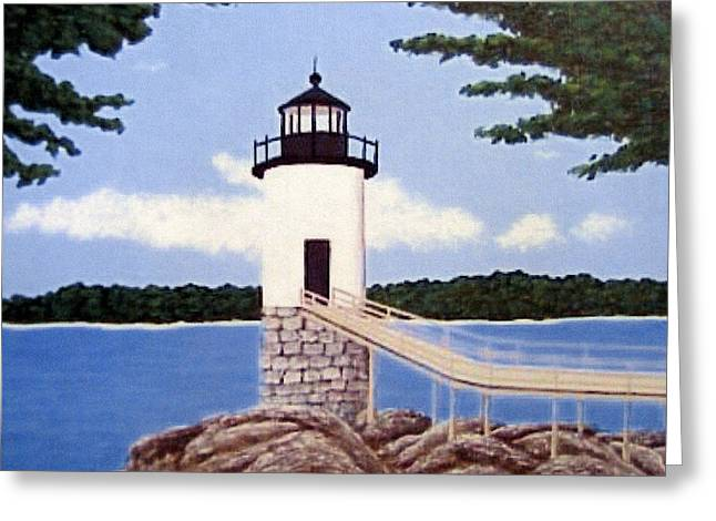 Haut Paintings Greeting Cards - Isle Au Haut Lighthouse Greeting Card by Frederic Kohli