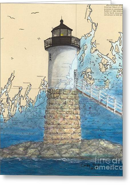 Haut Paintings Greeting Cards - Isle Au Haut Lighthouse ME Nautical Map  Greeting Card by Cathy Peek