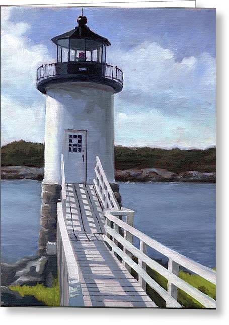 Haut Paintings Greeting Cards - Isle Au Haut Lighthouse Greeting Card by Todd Baxter