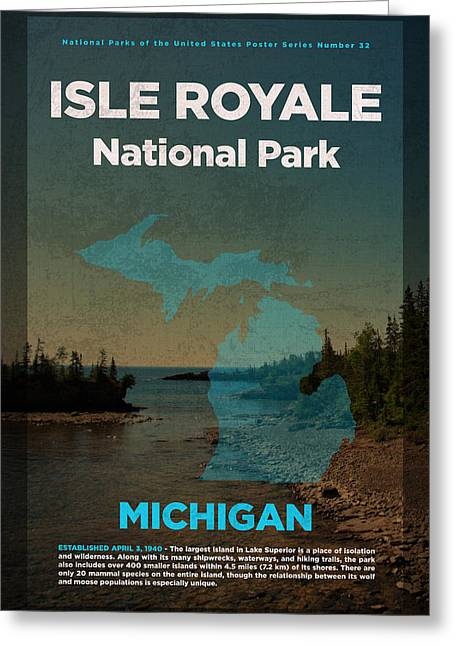 Isle Royale National Park In Michigan Travel Poster Series Of National Parks Number 32 Greeting Card by Design Turnpike
