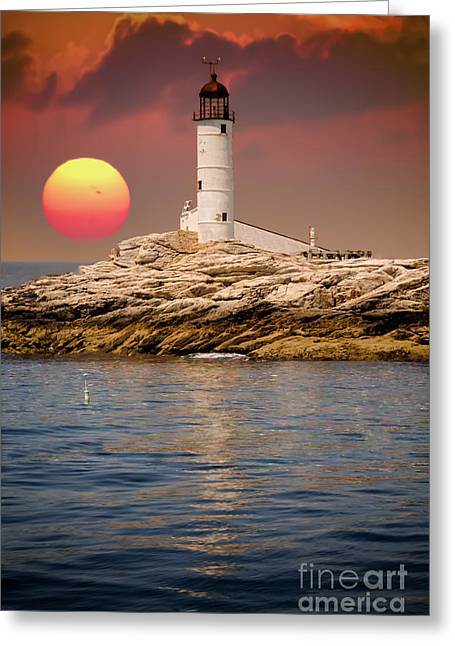 Maine Lighthouses Greeting Cards - Isles of Shoals Lighthouse at sunset Greeting Card by Claudia Mottram