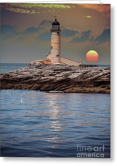 Ocean Shore Greeting Cards - Isles of Shoals Lighthouse at sunset Greeting Card by Claudia Mottram