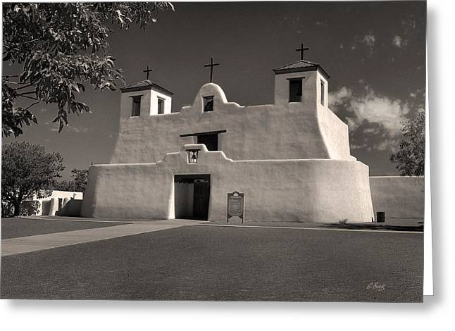 St. Augustine Greeting Cards - Isleta Mission Monochrome Greeting Card by Gordon Beck