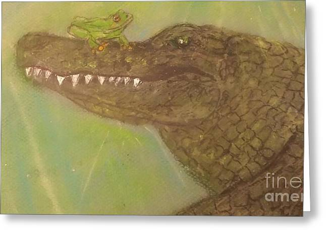 Tree Frog Pastels Greeting Cards - Isnt It Ironic Gator Greeting Card by Wilson Rachel