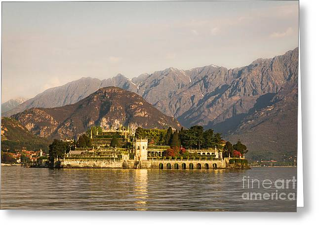 Photograph Tapestries - Textiles Greeting Cards - isola Bella lake maggiore Greeting Card by Marco Arduino