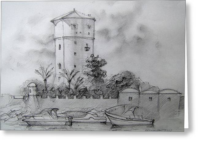 Italian Landscapes Drawings Greeting Cards - Isola del Giglio Greeting Card by Khromykh Natalia